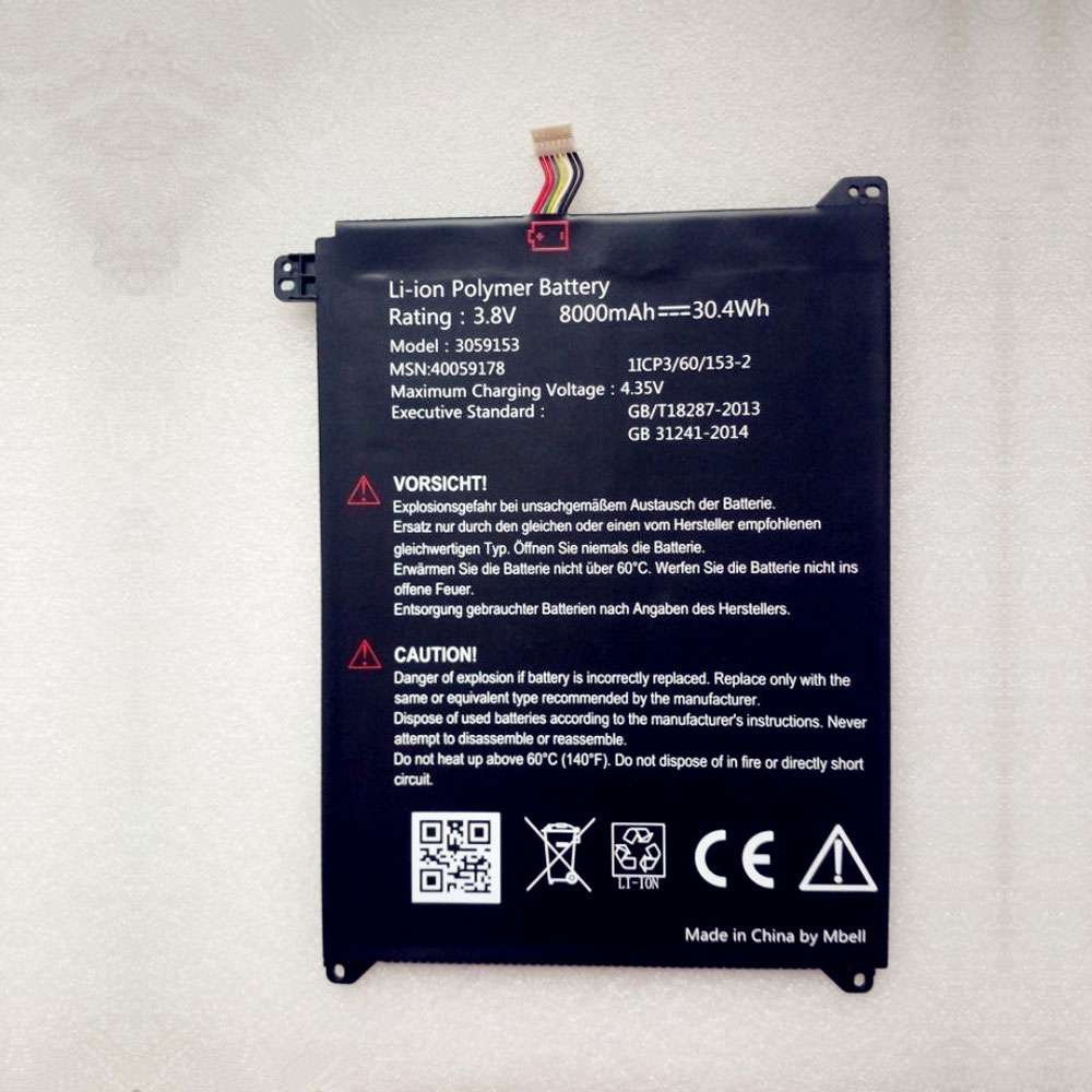 Replacement for Lenovo 3059153 battery