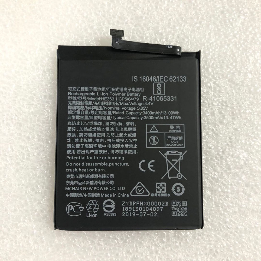 Replacement for Nokia HE363 battery
