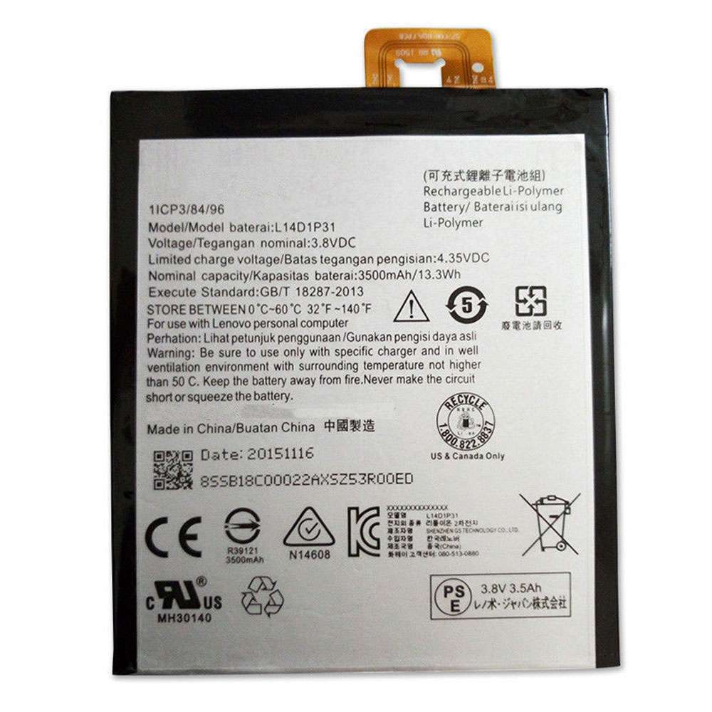 Replacement for Lenovo L14D1P31 battery