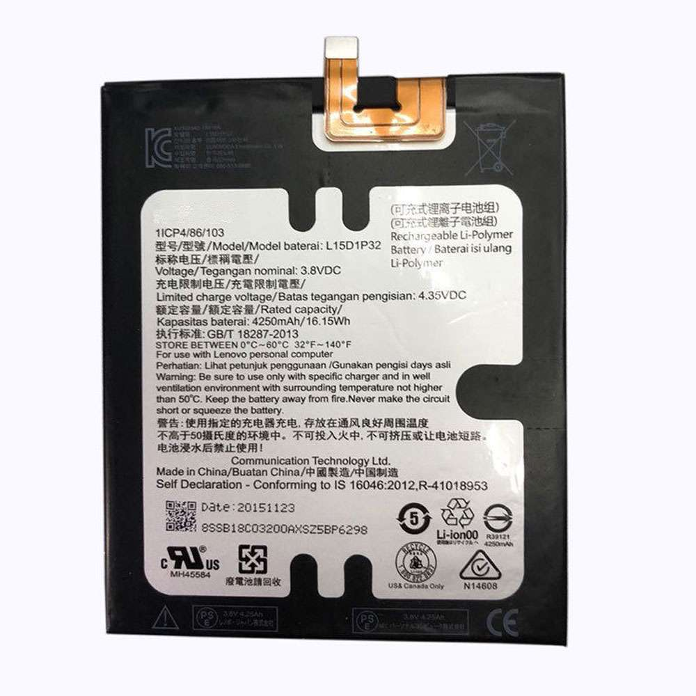 Replacement for Lenovo L15D1P32 battery