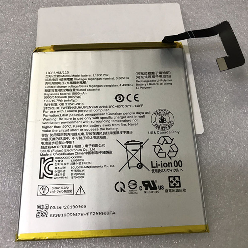 Replacement for Lenovo L19D1P32 battery