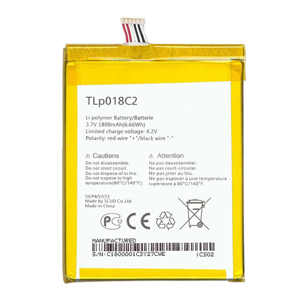 Replacement for Alcatel TLP018C2 battery