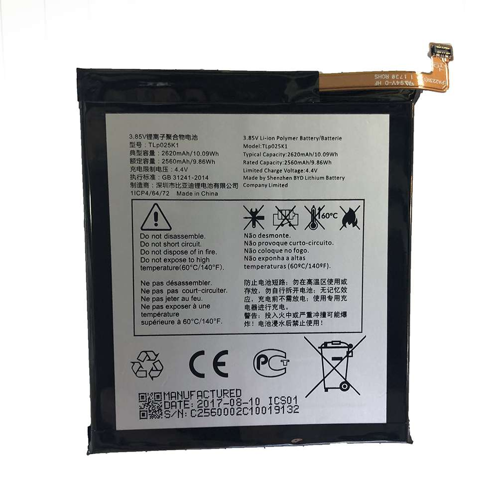 Replacement for Alcatel TLP025K1 battery
