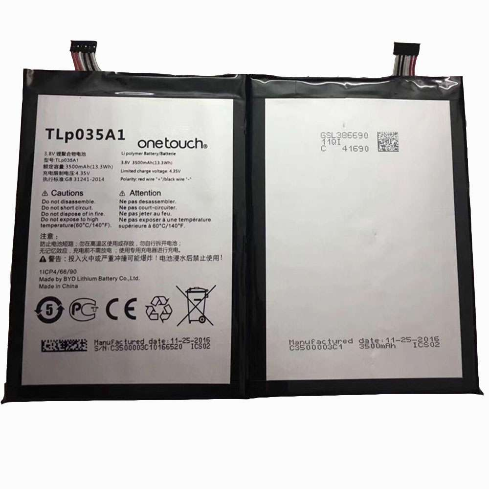 Replacement for Alcatel TLP035A1 battery