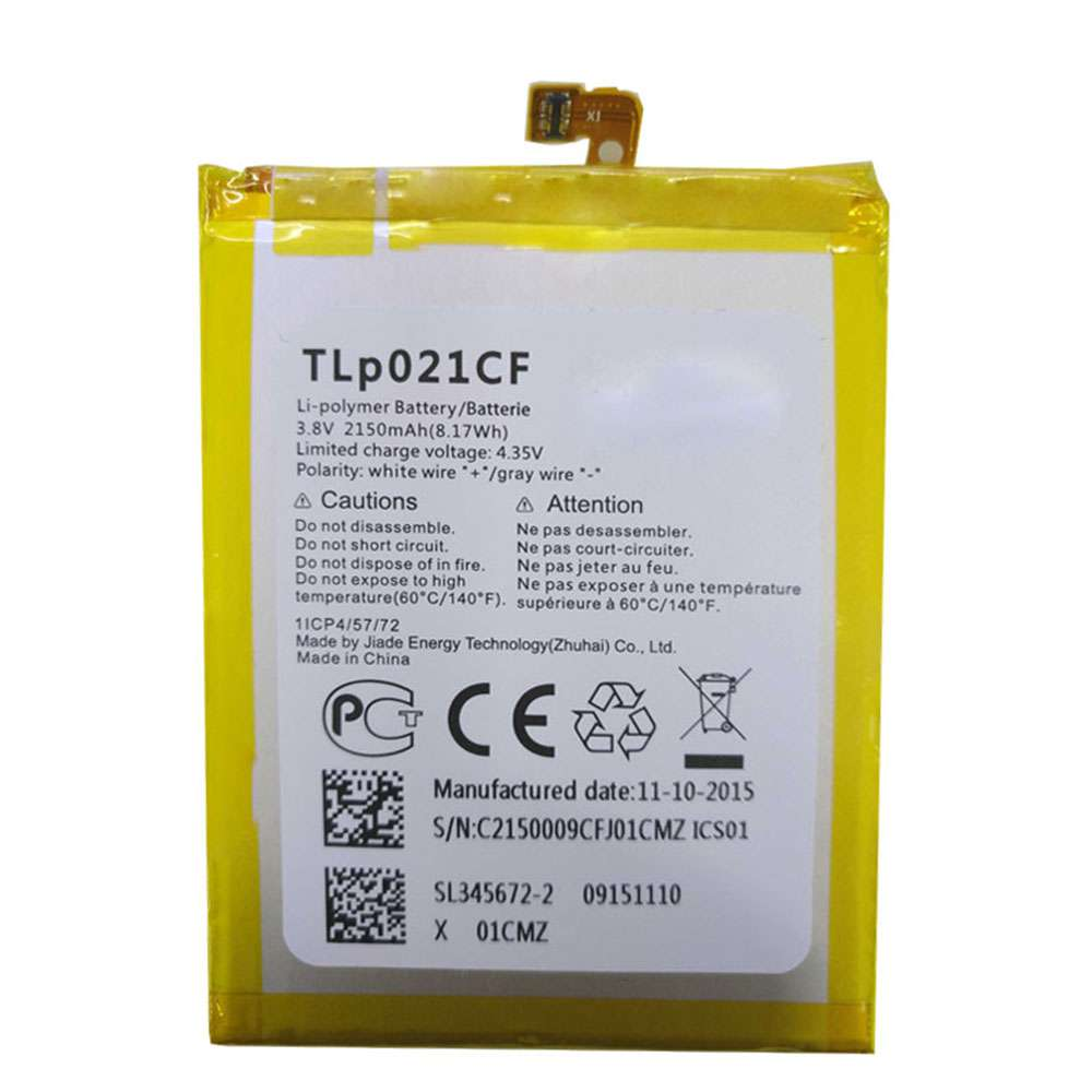 Replacement for Alcatel TLp021CF battery